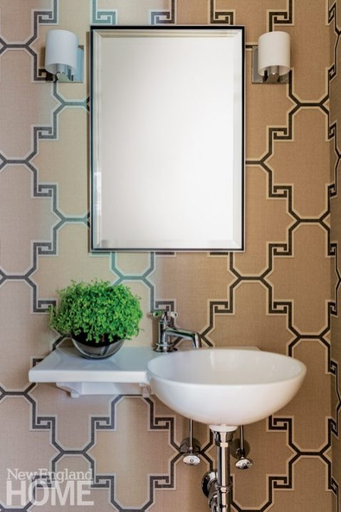 Boston Town House Small Powder Room with Large Geometric Wallpaper