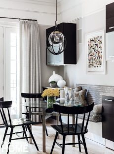 Nicole Hogarty Boston Townhouse Black and White Kitchen Eating Nook