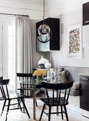 Nicole Hogarty Boston Townhouse Black and White Kitchen Eating Nook