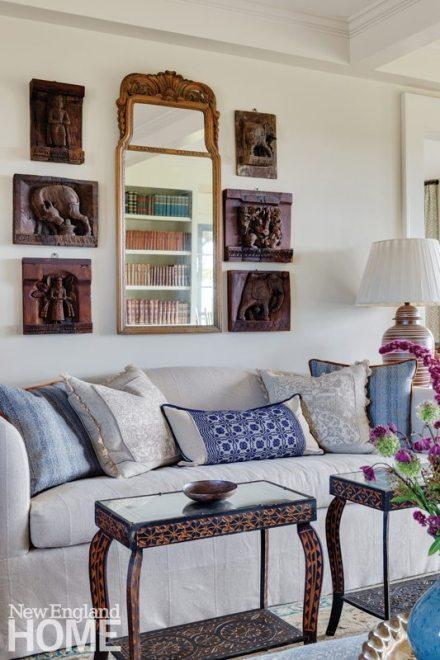 Sheldon Penoyer New Hampshire Farmhouse Blue and White Living Room Sofa