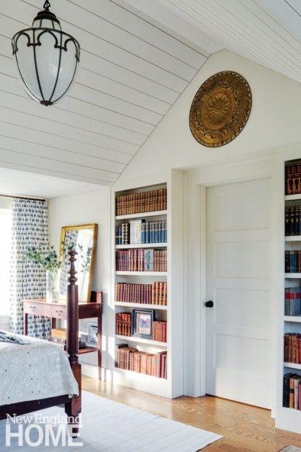 Sheldon Penoyer New Hampshire Blue and White Guest Bedroom with Shiplap Ceiling
