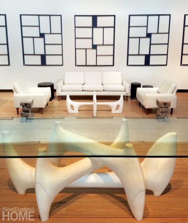 Modern wall panels, vintage Danish sofa, bespoke table