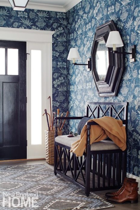Updated traditional entryway with blue wallpaper