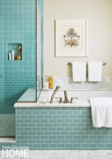 Updated traditional Powder Room Master bathroom with Marble and Aqua Tile
