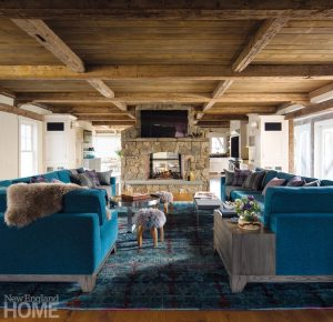 Rustic Farmhouse Washington Connecticut Family Room with Blue Couches