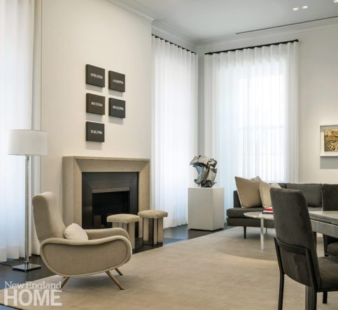 Modern and Minimalist Boston Townhouse Living Room
