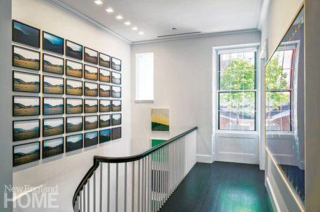 Modern and Minimalist Boston Townhouse Upstairs Hallway