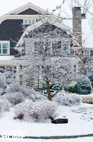 The home's landscaping is beautiful even when covered in snow.