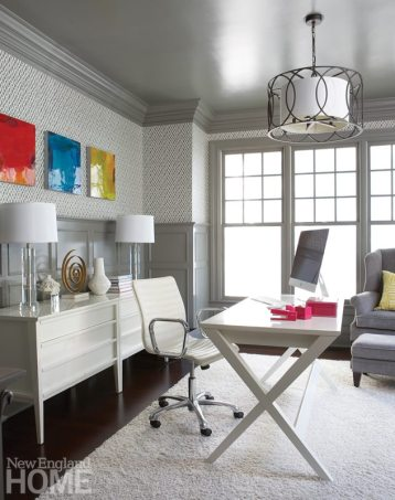 Punches of color and touches of shine raise the chic factor in the wife's office.