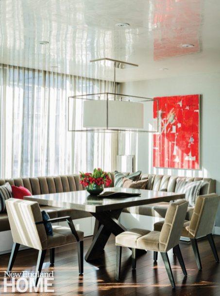 Contemporary and Family Friendly Boston Condo Contemporary Dining Space