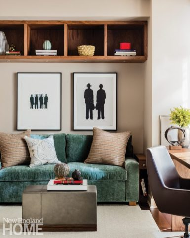 Contemporary and Family Friendly Boston Condo Contemporary Office with Teal Couch