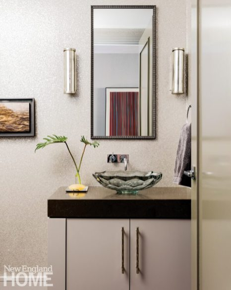 Contemporary and Family Friendly Boston Condo Contemporary Powder Room