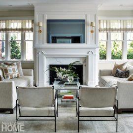 Hingham Tudor Style Living Room Fireplace