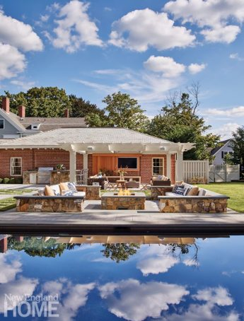 Hingham Tudor Style Pool and Entertaining Space
