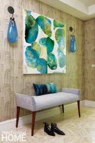 Family Friendly Condo Entryway with Hand Blown Glass Sconces
