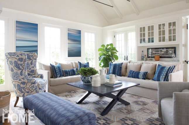 Nantucket Home Blue and White Living Room