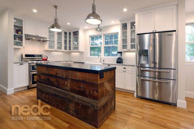 Kitchen Trends: New England Design and Construction Reclaimed Wood Island