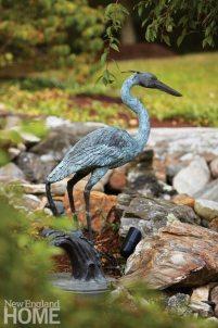Renovated Barn Garden Crane Statuary