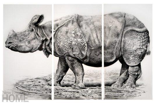 Rick Shaefer Indian Rhino triptych