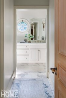 Sustainable Cape Cod Master Bathroom with Fish-Themed Mosaic