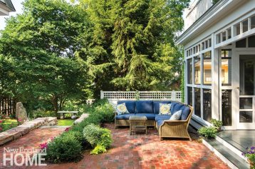 This garden designed by Vermont's Cynthia Knauf Landscape Design include multiple outdoor living areas.