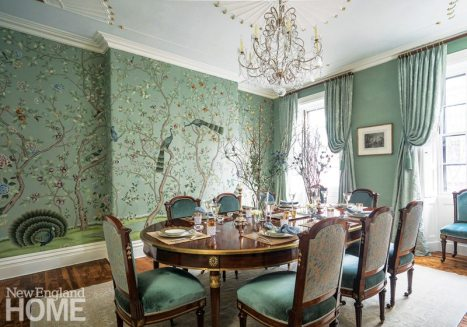 Designer Kristin Paton reworked an elegant Beacon Hill dining room with chinoiserie wallpaper from de Gournay.