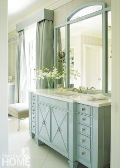 Brookline Georgian Master Bathroom with Light Blue Vanity