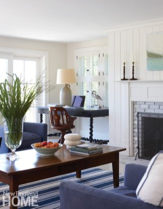 Chappaquiddick Shingle Cottage Living Room Fireplace