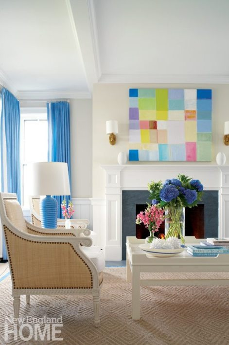 Nantucket Blue and White Living Room with Contemporary Art