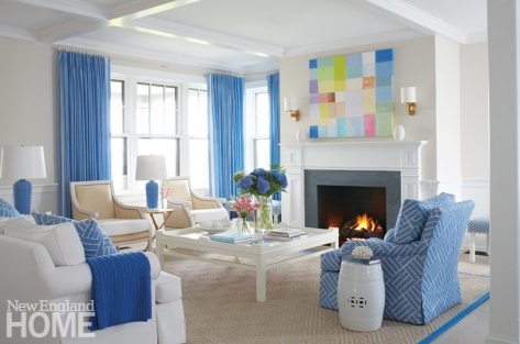 Nantucket Blue and White Living Room with Fireplace and Contemporary Art
