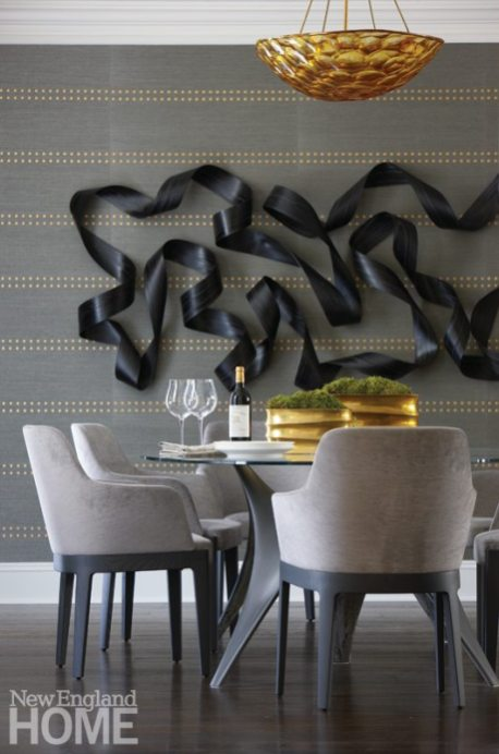 Brooks & Falotico New Canaan transitional dining room with wall sculpture
