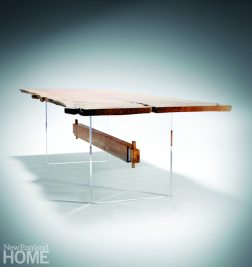 City Bench's Floating Beech Table was designed with acrylic legs at a client's request.