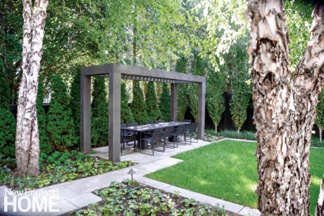 Contemporary Boston urban garden with pergola