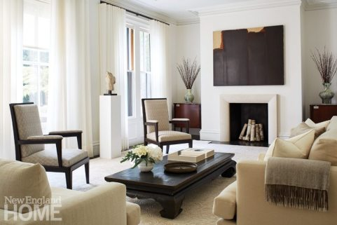 Contemporary Boston town home neutral living room