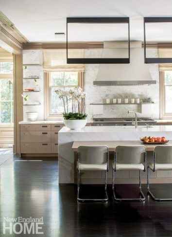 Contemporary Boston town home neutral kitchen