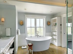 Vermont spa-like bathroom with freestanding tub