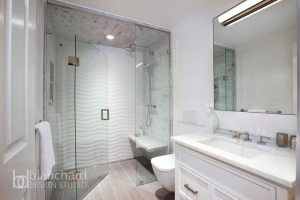 Historic architecture and contemporary design are not mutually exclusive. Here a contemporary bathroom was designed for aging in place.