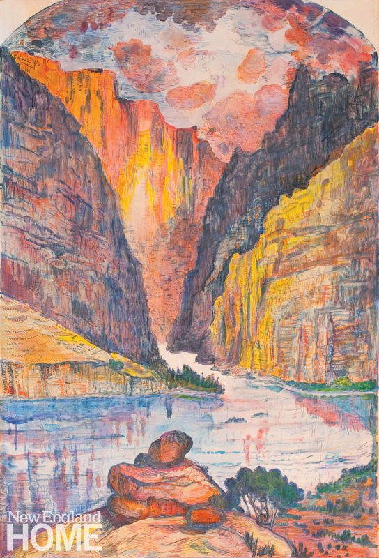 """After Thomas Moran Gate of Lodore (2011), color monotype, 22""""H × 15""""W"""