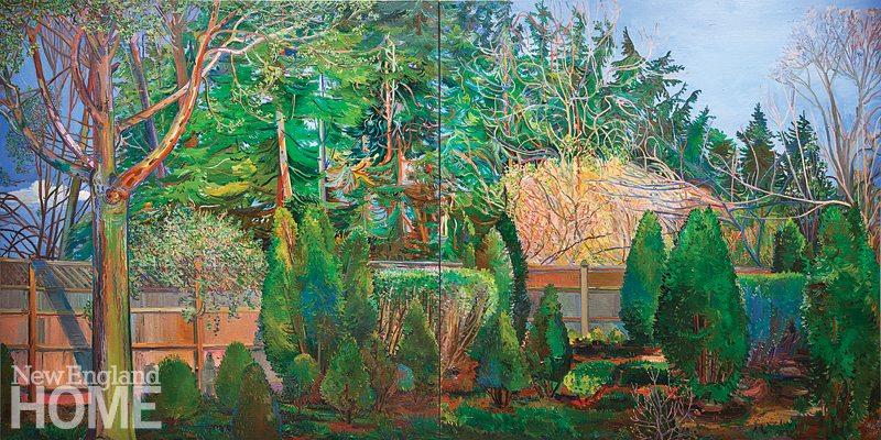 "Spring Arbor (2017), diptych, oil on linen, 48""H × 96""W"