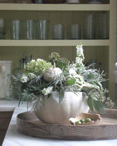 White pumpkin with floral design