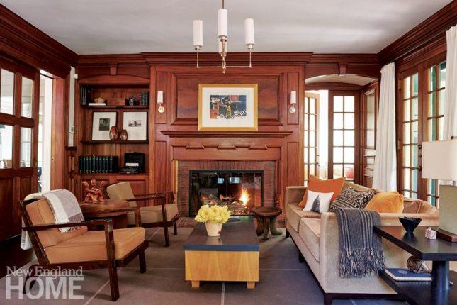 Brookline historic home paneled living room