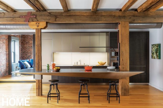 Contemporary floating kitchen island