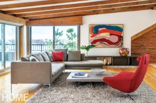 Contemporary living room with modern artwork