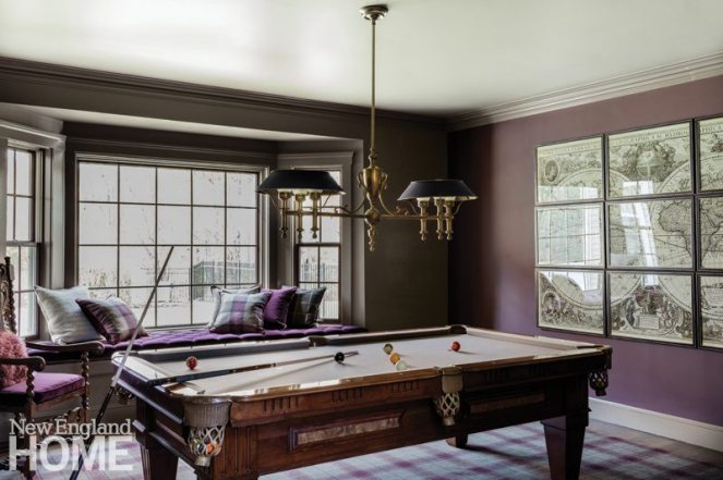 Billiard room with vintage style pool table