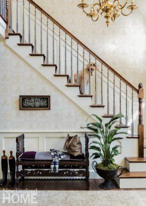 Neutral entryway with vintage pieces