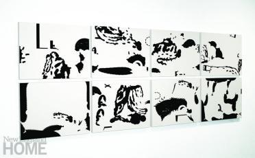 """Untitled (2013), varnished screen prints on cradled panel, 18""""H × 24""""W × 1.5""""D"""