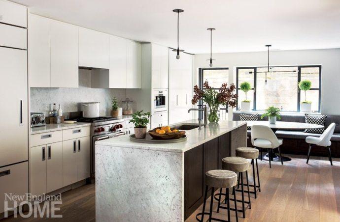 Contemporary kitchen in a Boston brownstone