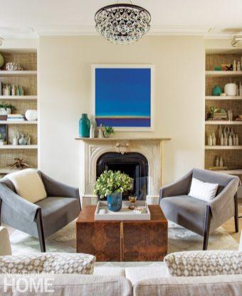 Contemporary living room in a Boston brownstone