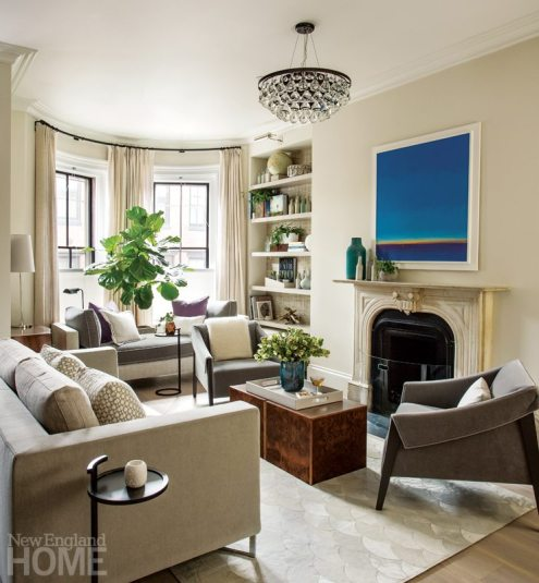 Contemporary living room in Boston brownstone