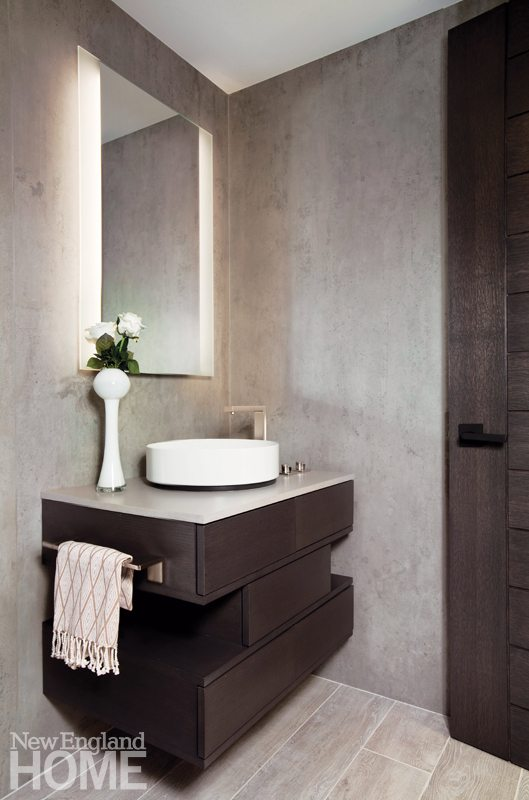 Contemporary powder room with floating vanity